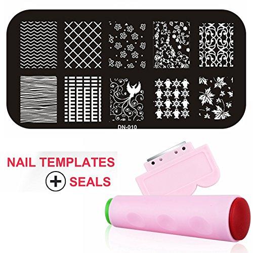Gellen Nail Templates Image Plate Of Kit Stamper + Scraper S