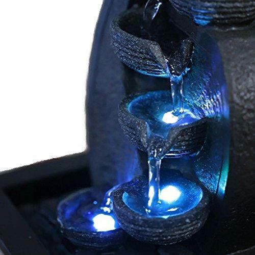 Zimmerbrunnen Innenbrunnen Feng Shui Wasserfall Braun LED Farb Beleuchtung 26 cm