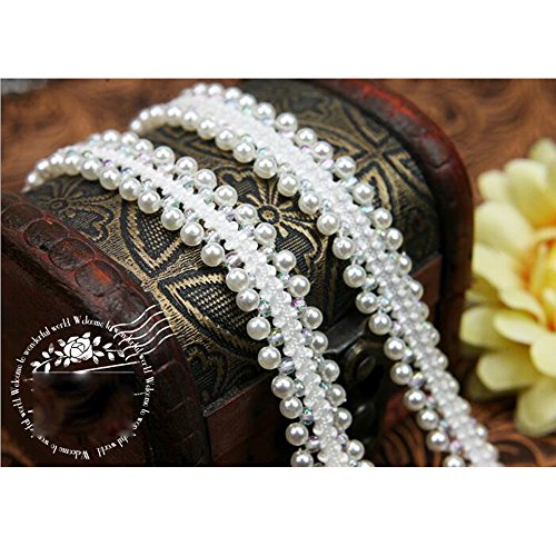 2 Yard Artificial Pearl Beaded Lace Trim Ribbon Applique Sewing for Wedding Dress Collar (3d Wedding Bell)