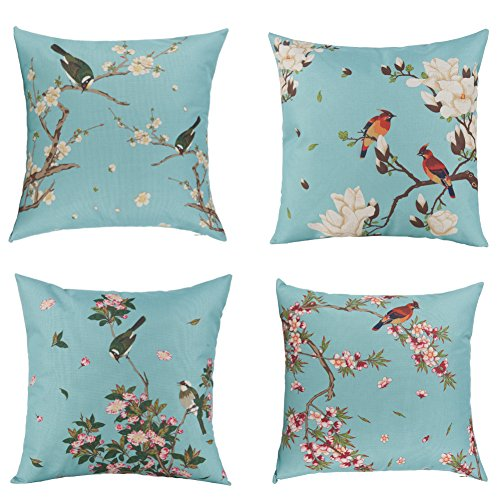 Unique Warm Outdoor Decorative Pillow Covers Bird Flower Cotton Linen Cushion Covers 18 X 18 Inches Pack of 4