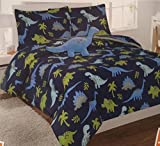 6 Piece Twin Sized Blue Dinosaur Comforter and Sheet Set Bed in a Bag with Bonus Stuffed Animal