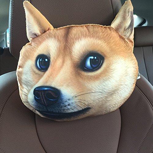 HOT SEAL Creative Funny Doge Lifelike 3D Printed Car Headrest Animals Dog Cat Head Cartoon Pillow Protect Seat Neck…