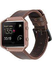 iBazal Leren armband, compatibel met Fitbit Versa/Versa 2/Versa Lite, leren horlogeband, reservearmband, horlogeband, vervanging voor Fitbit Blaze band, lederen band