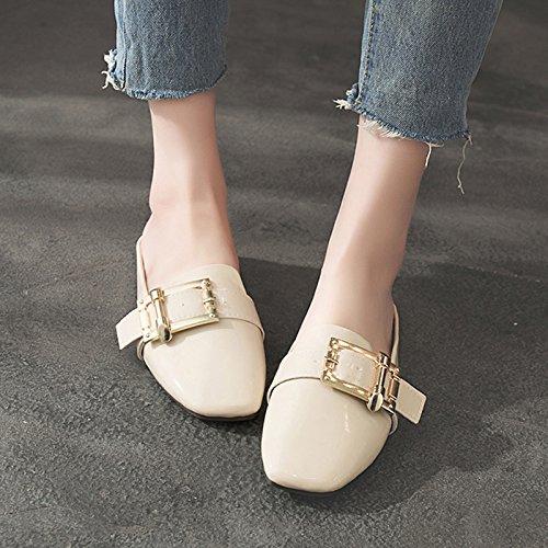 GAOLIM La Primera Mitad Del Verano Zapatillas Baotou Baja Con Zapatillas Y Versátil Con Hebilla Metálica Rugosa Zapatos De Mujer Un m blanco
