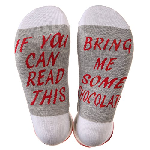 MIUBEAR Word Socks For Men Women - IF YOU CAN READ THIS Funny Saying Knitting Word Combed Cotton Crew Wine Coffee Beer Socks Collection (Gray / Chocolate)