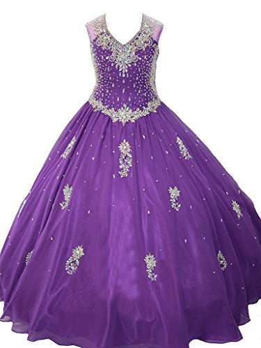 WZY Big Girls Crystals Beaded Kids Ball Gowns Girls Pageant Dresses 10 US Purple