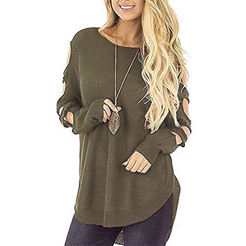 GreatestPAK Femmes Creux paule Longues tricot Vrac en Chemisier Pull Automne Froides Manches Chandail Vert 7wTgAx4qA
