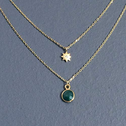 WAS $39.00 - layered, natural EMERALD gemstone, cubic zirconia star pendant, GOLD plated necklace, simple, small, everyday, dainty