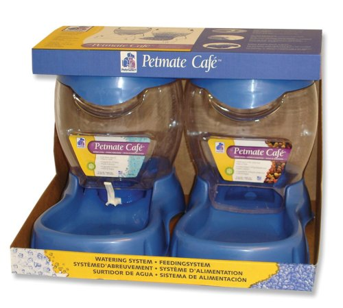UPC 029695240744, Petmate  Café 3.5 pound Feeding and 3 Quart Watering System, Planet Blue