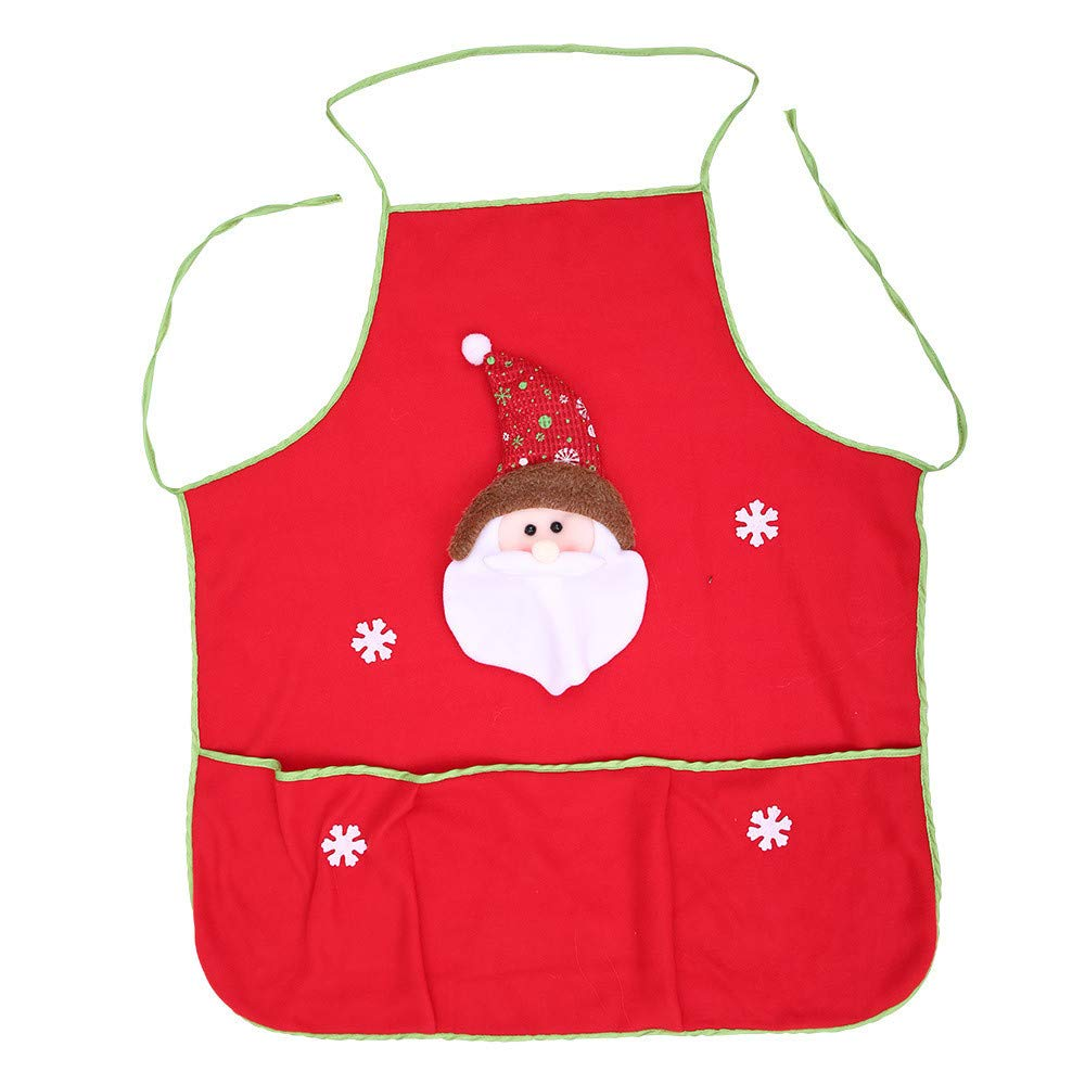 Pgojuni Christmas Soft Apron Kitchen Aprons Christmas Dinner Party Apron Decoration 1pc (A, 62x72cm)