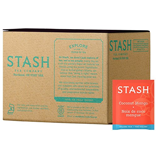 Stash Tea Coconut Mango Wuyi Oolong Tea 100 Count Tea Bags in Foil (packaging may vary) Individual Black Tea Bags for Use in Teapots Mugs or Cups, Brew Hot Tea or Iced Tea, Fair Trade Certified