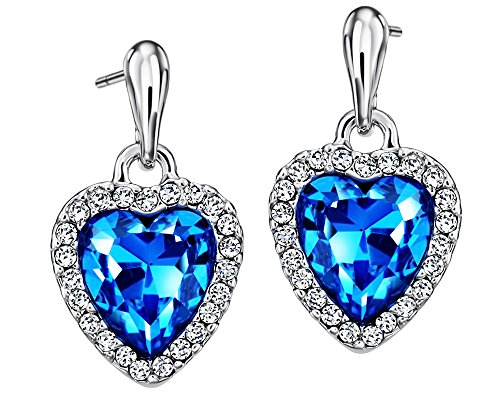 Neoglory Blue Love Heart of Ocean Crystal Drop Earrings Rhinestone Platinum Plated Women Jewelry Bridesmaid Mother's day (Titanic Heart)