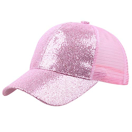Quaanti Clearance Price!Women Girl Ponytail Baseball Cap Sequins Shiny Messy Bun Snapback Hat Sun Caps  (Pink)