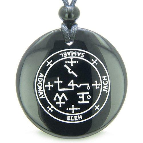 Agate Angel Pendant - Sigil of the Archangel Samael Amulet Black Agate Magic Pendant Necklace