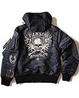 フードMA-1ジャケット VANSON バンソン フライトジャケット 黒迷彩 NVJK-703