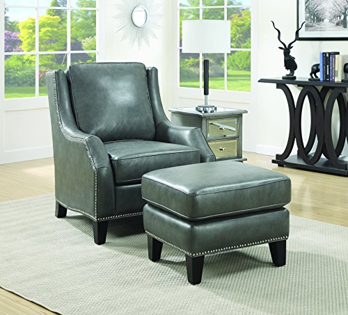 Coaster Home Furnishings 902408 Chair with Ottoman, Gray (Leather Sofa Set Clearance)