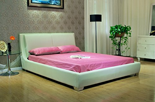 Greatime B1088 Platform Bed with Padded Headboard & Euro Slats, California King, White (Bedroom Euro Headboard)