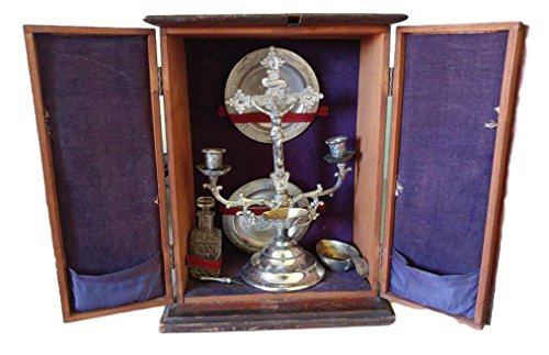 Sick Call (Antique Last Rites Cabinet or Viaticum Sick Call Box Catholic Silverplate Holman 1897 Crucifix)