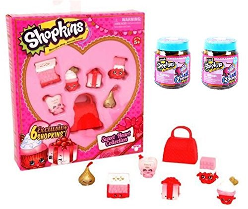 Shopkins Sweetheart Collection 6 Pack PLUS Two Season 6 Chef Club Mystery Jars