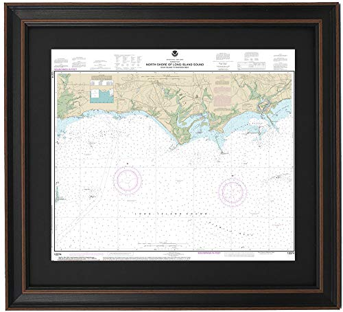 Patriot Gear Company | Framed Nautical Map 12374 : North Shore of Long Island Sound; Duck Island to Madison Reef- Poster Size