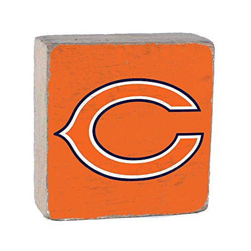 NFL Chicago Bears, Team Color Background Team Logo Block by Rustic Marlin 6