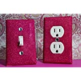 SET OF BARBIE PINK Glitter Switch Plate Outlet Covers ALL Styles Available!