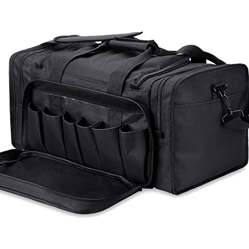 Tactical Range Bag Waterproof Pistol Duffel Bags with Lockable Zippers and Heavy Duty Anti-skid Stands, Black