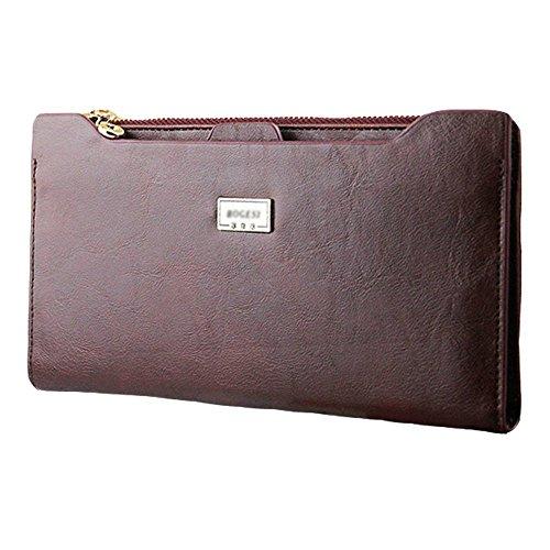Price comparison product image Miraclekoo Long Bifold Wallet Slim Purse Credit Card Holder Womens / mens Soft PU Leather Zipper Handbag (Brown)