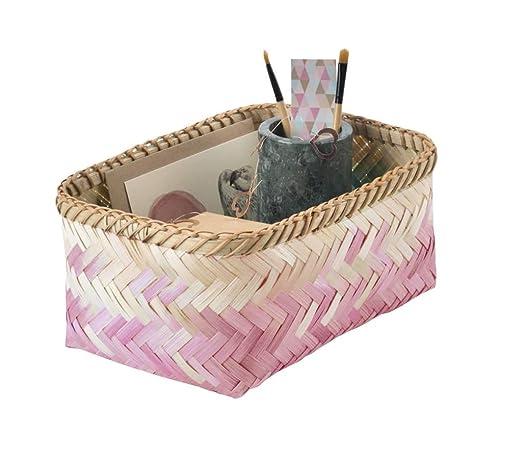 6886f644e4c2 Compactor Home RAN7995 Panier Tie   Dye Bambou, Rose, 26 x 19 x 12 cm   Amazon.fr  Cuisine   Maison
