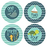 Baby Monthly Stickers Marine Animals - Unisex - Milestone Stickers - 1-12 Months - Onesie Stickers - Baby Shower Gift - Pinkie Penguin