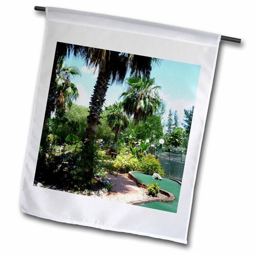 "3dRose fl_25254_2 ""Tropical Mini Golf"" Garden Flag, 18 x 27"""