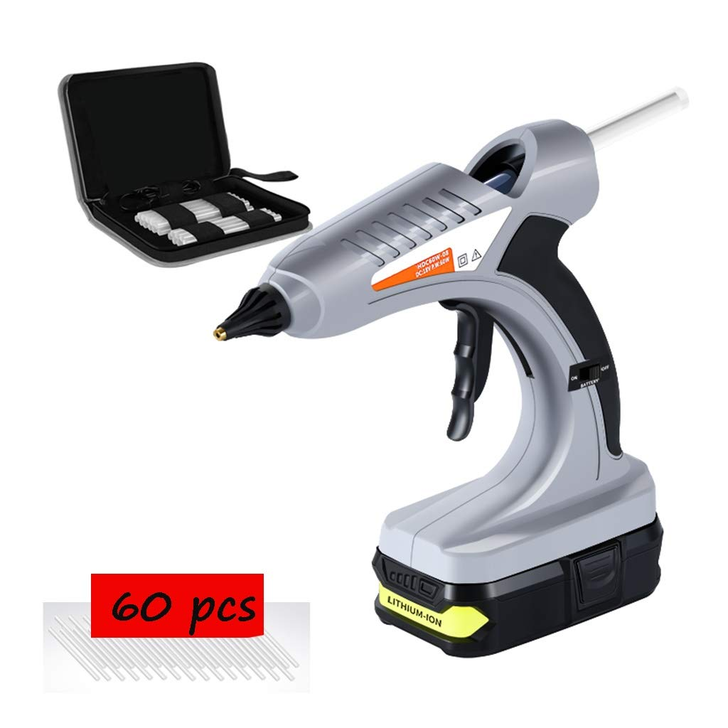 FeiQiangQiang Wireless Hot Glue Gun, 60W Professional Portable Glue Gun, with 30, 60, 90 Glue Sticks, Anti-scalding Sleeve, Suitable for Quick Repair, Christmas Decorations, Gray Manual aid by FeiQiang