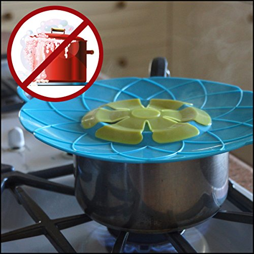 MULTI USE: Veggie Steamer Basket and Spill Stopper Lid Cover | Cook Healthy by Steaming Vegetables | Boil Guard Prevents Pots from Boiling Over If Unattended | Made of FDA Food Grade Silicone | Green