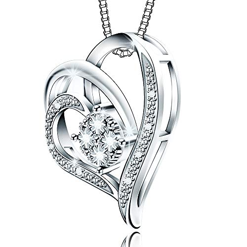 Jewlpire ♥Love Series♥ Woman Silver Necklace Diamond Necklace Pendant 0.03CT - The Closest Gift to The Heart(My Heart Will Go On)