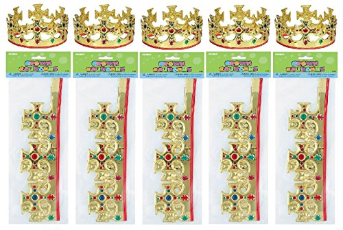Crown Jeweled Plastic ((10) Majestic Plastic Jeweled Party King Crowns ~ Children's Party Supplies)