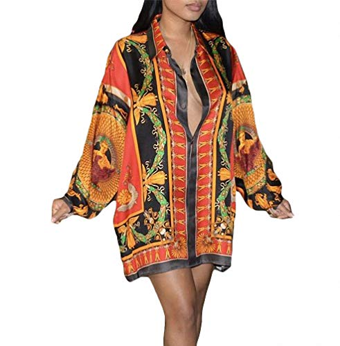 Remelon Womens Tribal Floral Print Button Down Collar Long Shirt Dress Blouse Mini Dress Red M