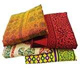 Lot Of 4 Vintage Indian Saree Mix Fabric Decor Antique Wrap Used Multicolor Sari