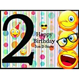 Emoji Party Supplies, 2nd Birthday Decor, Happy Birthday Banner, Personalized Poster for Walls - Size 24x36, 48x24, 48x36; Custom Birthday Banner Handmade Party Supplies, Kids Party Favors, Backdrop