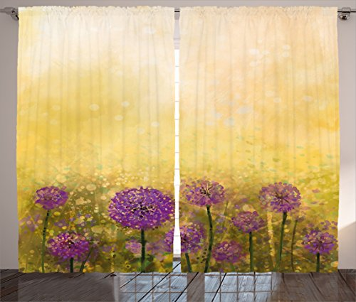 Cheap Ambesonne Watercolor Flower Home Decor Curtains, Onion Garden with Staining Effects Pastoral Artisan Design, Living Room Bedroom Window Drapes 2 Panel Set, 108W X 96L Inches, Yellow Purple