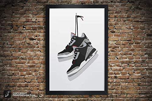 Amazon.com: Air Jordan 3 Vintage Hanging Kicks Sneaker Wall Art Illustration in Various Sizes ...