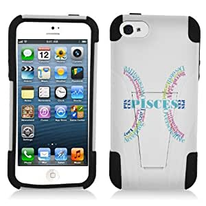 Fincibo (TM) Apple iPhone 5 5S Hybrid Dual Layer Protector Cover Case Gel Silicone With Kickstand - Pisces Symbol, White/ Black