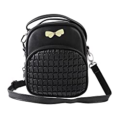 Damara Kids Quilted Cute Bowknot Embellished Zipper Textured Satchel