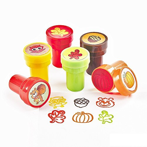 Fun Express 24 Plastic Fall Stampers - Thanksgiving Decor - Stationery & Stamps