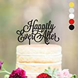 Anniversary Cake topper Happily Ever After Wedding cake toppers for wedding Cake Decorations HappyPlywood (width 5'', black)