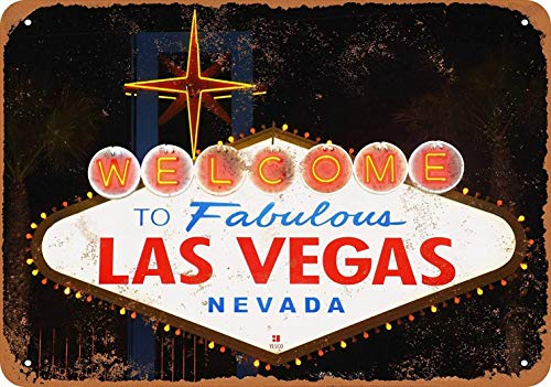 - PaBoe 8 x 12 Metal Sign - Welcome to Fabulous Las Vegas - Vintage Decorative Tin Sign