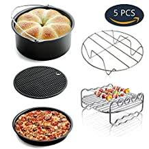 Universal Air Fryer Accessories Including Cake Barrel Pizza Pan Metal Holder Skewer Rack with 4 Skewers and Silicone Mat for Phillips Gowise Air Fryer Fit all 3.7QT 5.3QT 5.8QT