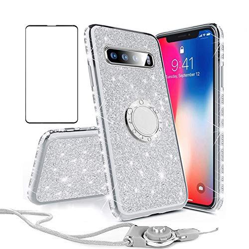 Galaxy S10 Plus Case Glitter Cute Bling Diamond Sparkle Slim Thin Soft Cover with Ring Kickstand Neck Lanyard Samsung Galaxy S10 Plus Phone Case with Screen Protector for Women Girls (Silver)