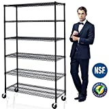 6 Tier Adjustable Wire Shelving Unit w/Casters, NSF Commercial Metal Storage Garage Shelves, 4800 LBS Capacity, Heavy Duty Standing Rack for Restaurant Pantry Kitchen (76 H x 48 W x 18 D) - Black Larger Image