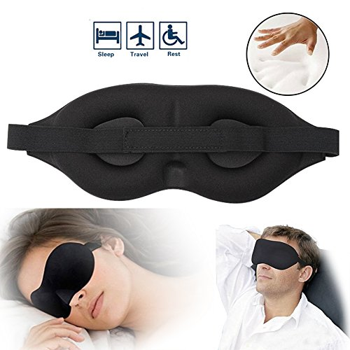 Satin Sleep Mask (Eye Sleep Mask - Eye Cover For Sleeping 3D Comfy Memory Foam Travel Mask Mens Womens Health Sleep Patch Camping Eye Shades Blindfold Satin Silky Lightweight Black Night Mask)