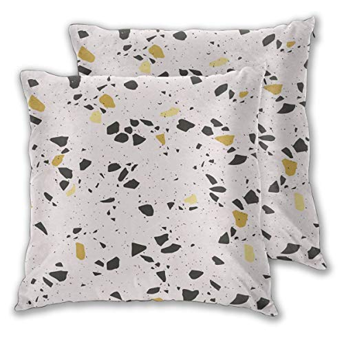 USHMX Moma Decorative Throw Pillow Covers Standard Size Set of 2, Wildflower Petal Wallpaper Pattern Yellow Printed Pillow Cover Square Throw Polyester Fiber Pillow Case -